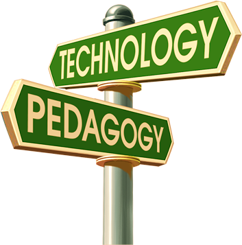 Crossroad signs pointing to technology and pedagogy.