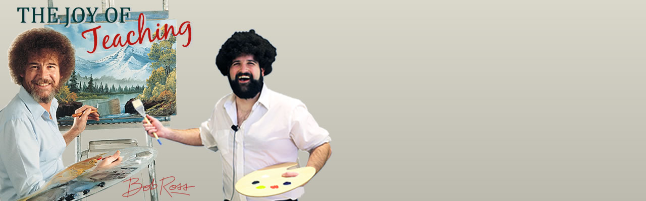 Bob Ross painting with another man dressed as Bob Ross