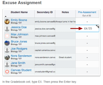Canvas Excused Assignment Feature