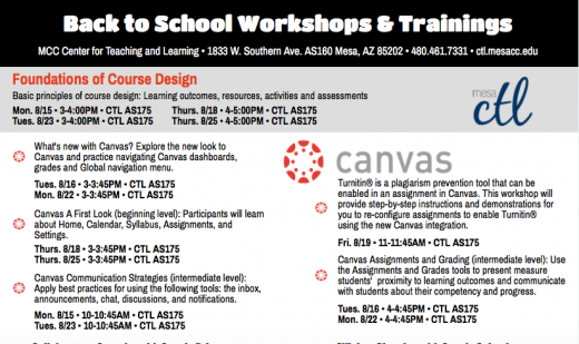 Promotional flier for workshops
