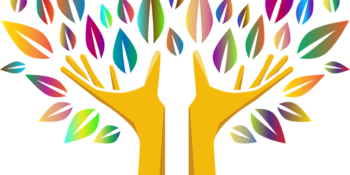 Hands for trunk and branches with colorful leaves