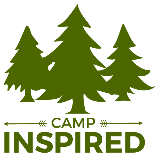 Three evergreen trees with camp inspired text.