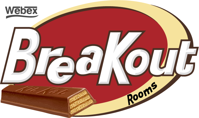 Webex Breakout Rooms stylized to appear as a Kit Kat wrapper.